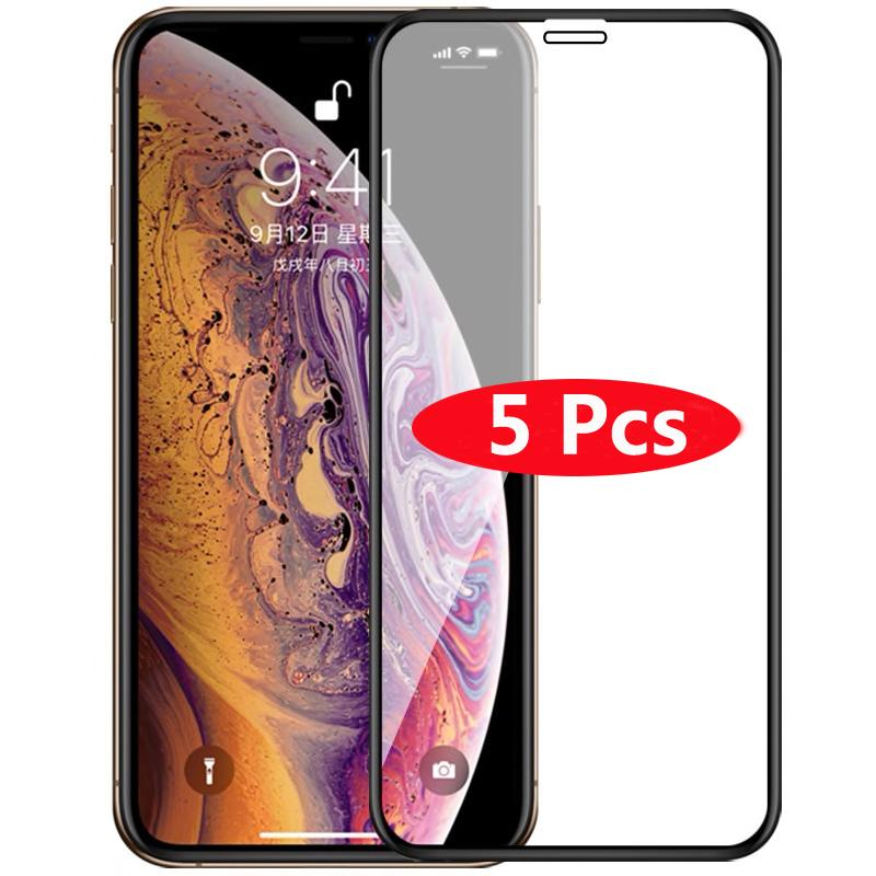 5pcs la cubierta completa de vidrio templado para el 11 Pro Pantalla Max iPhoneExplosion a prueba la película del protector para el iPhone XR XS Max x 7 8 Plus Glass