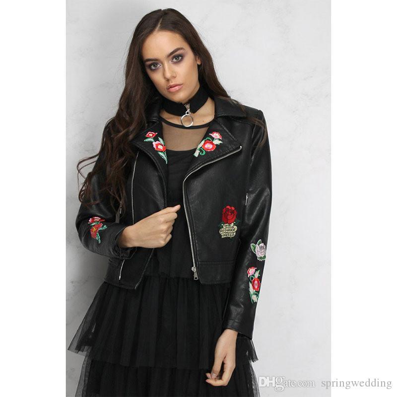 Flora Baskılı Temel Kadınlar Rahat Mont Ceketler PU Fermuar Uçuş Ceketler Punk Kalça Pop Moda Giyim Mont 716-8