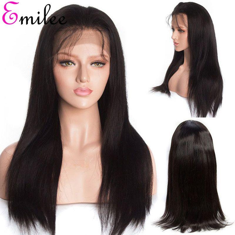 Emilee 13 * 4 Human Front Wigs Lace cheveux avec bébé cheveux droit brésilien non Remy Perruques pour les femmes noires