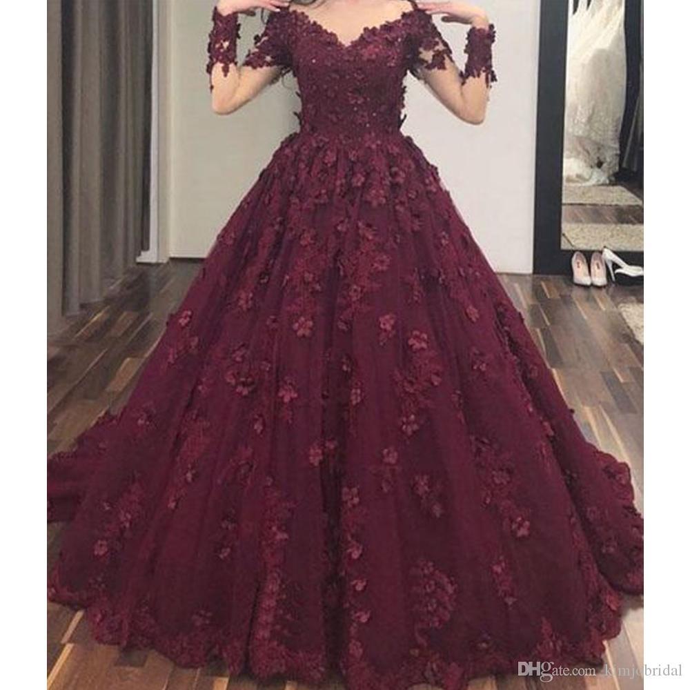 Compre Vino Rojo Vestidos De Baile Flores Hechas A Mano Vestido De Fiesta Fuera Del Hombro Manga Larga Transparente Puffy Longitud Del Piso Vestidos
