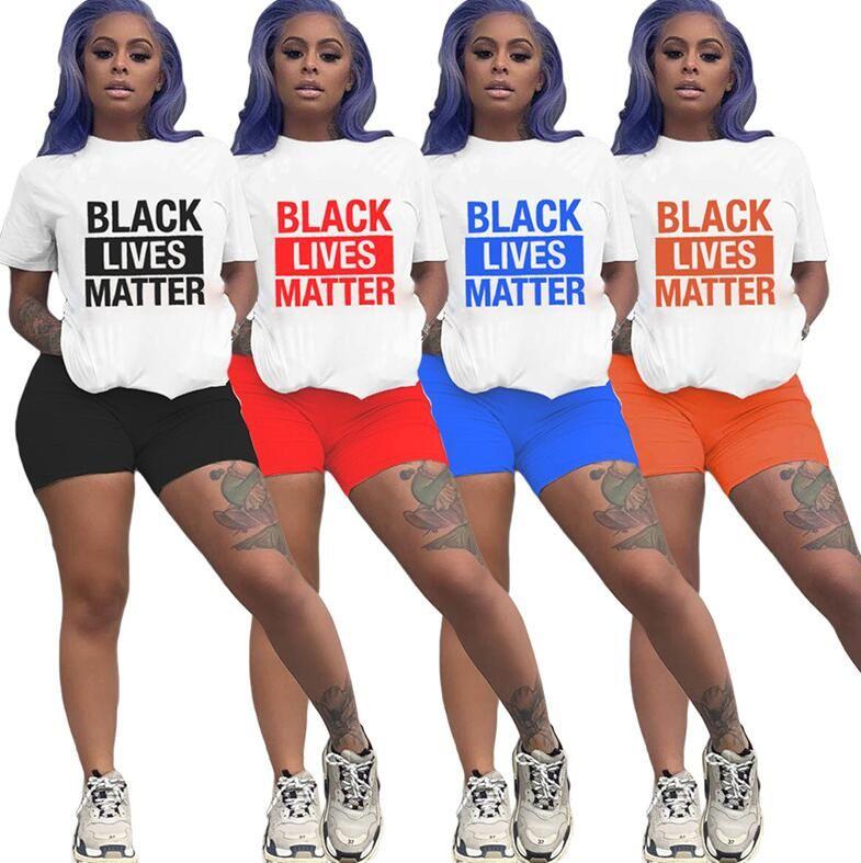 Les femmes noires Lives Matter Letters Survêtement Shorts T-shirt Deux ensembles pièces à manches courtes Outfit Sport Costume Casual D6509