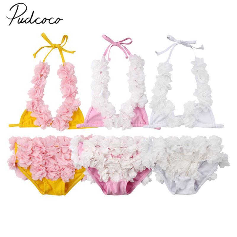2019 Brand New 0-5Y nouveau-né enfant bébé fille 3D fleur Bikini Set 2 PCS sans manches ceinture gilet + shorts maillot de bain maillot de bain plage de baignade
