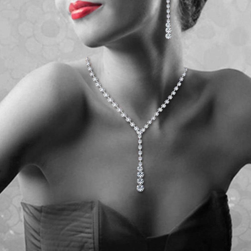 블링 크리스탈 신부 쥬얼리 세트 실버 도금 목걸이 다이아몬드 귀걸이 신부 들러리 여성용 웨딩 쥬얼리 세트 여성 액세서리