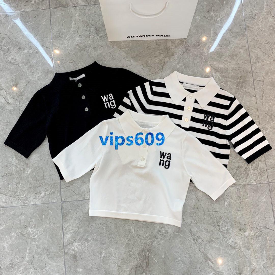 2020 high-end as meninas das mulheres de malha de manga curta t-shirt de lapela pescoço colorblock carta impressão mulheres moda camiseta pullover topo