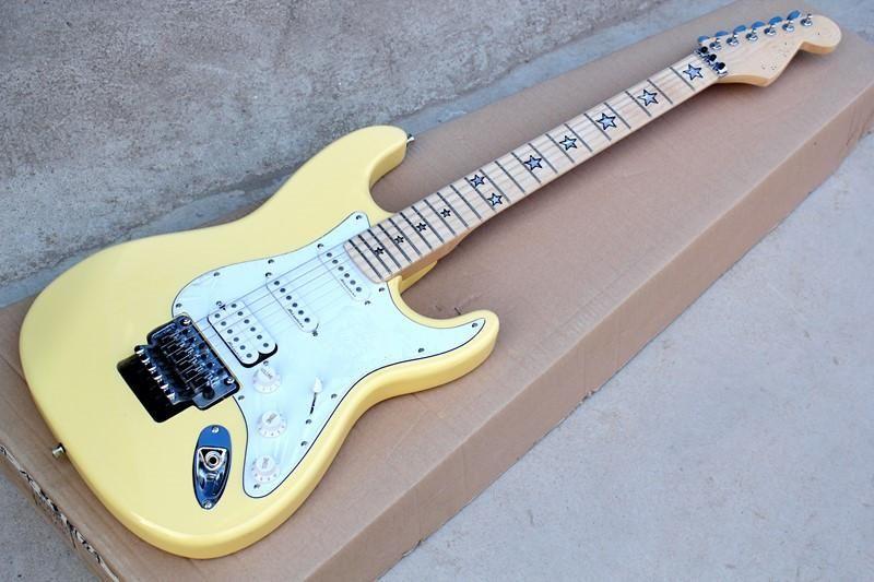 E-Gitarre mit Creme Gelb Körper und das Weiße Pickgaurd und Floyd Rose und kann individuell angepasst werden