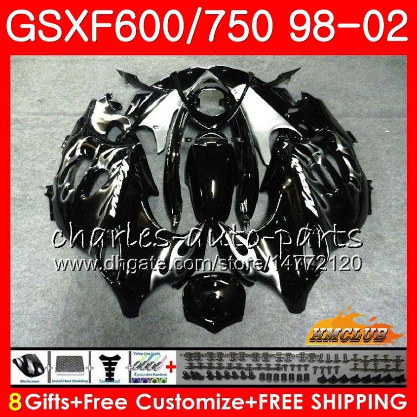 Körper für Suzuki Katana GSX600F GSXF750 Silber Flammen 1998 1999 2000 2001 2002 2HC.31 GSXF 750 600 GSX750F GSXF600 98 99 00 01 02 Verkleidungsset