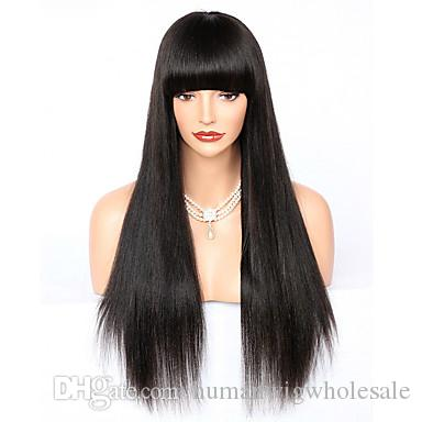 Wholesale 150% density Real Human Wig selling directly from factory Yaki Straight full lace wig with Bang No Tangle No Shedding Glueless wig