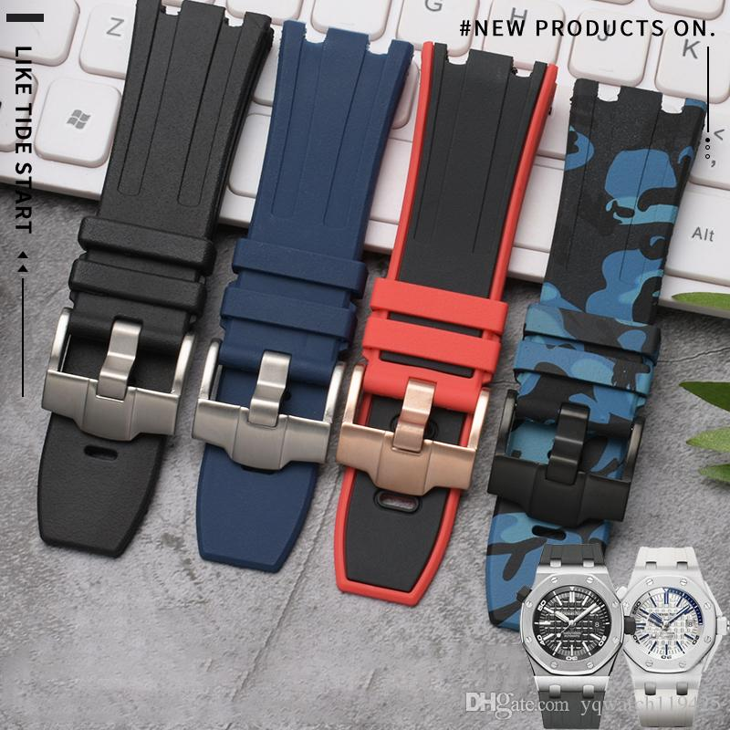 오데 그리고 피게 로고 그린 레드 블랙 블루 화이트 28mm 자연 고무 실리콘 손목 시계 남성 스포츠 시계 밴드 AP 스트랩