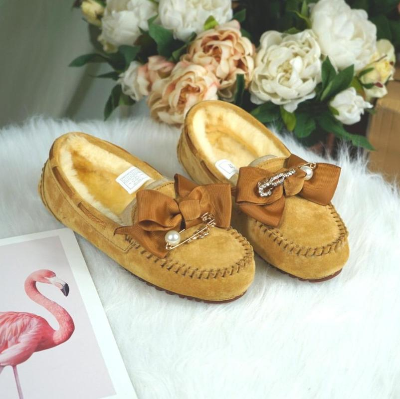 الشتاء عدم الانزلاق الأحذية المطاطية وحيد الكاحل اللؤلؤ Bowknot 2020 الفرو الطبيعي الأحذية الصوف السميك جلد البقر والجلود الثلوج الدافئة الأحذية النسائية