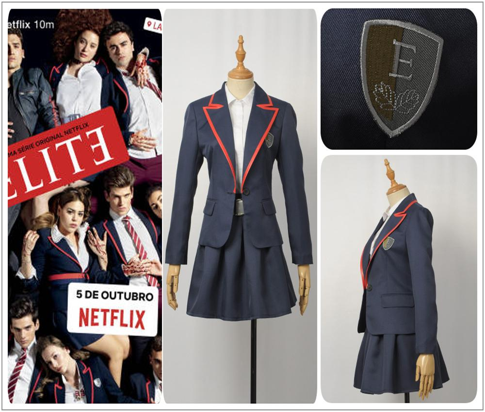 Uniforme TV Series Elite Uniforme Escolar Blue Jacket Feminino Cosplay Costume Adult Women Shirt Girl saia plissada Escola