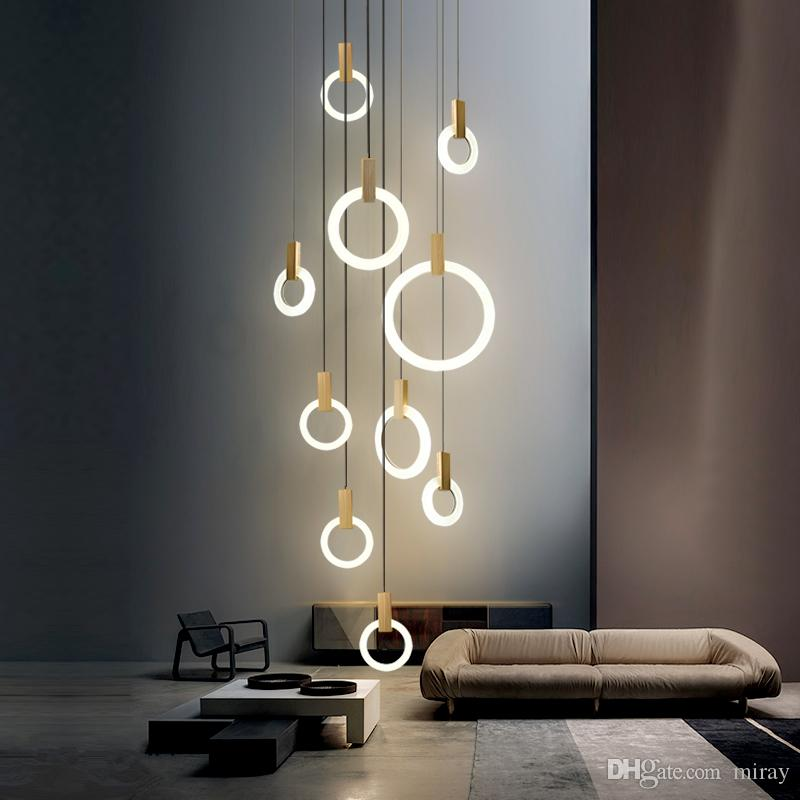 Modern LED Chandelier ceiling living room Wooden lighting Acrylic Ring fixtures stairs deco hanging lights dining pendant lamps