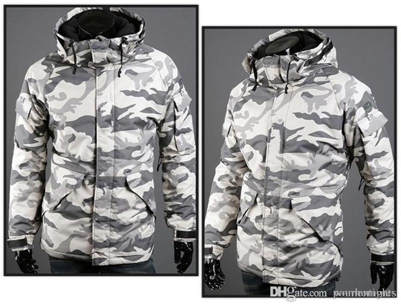 Camouflage-Print Herren Designer Baumwolle gefütterte Jacken Mode Mulit Taschen Herren Zipper Panelled Jacken beiläufige Männer Kleidung