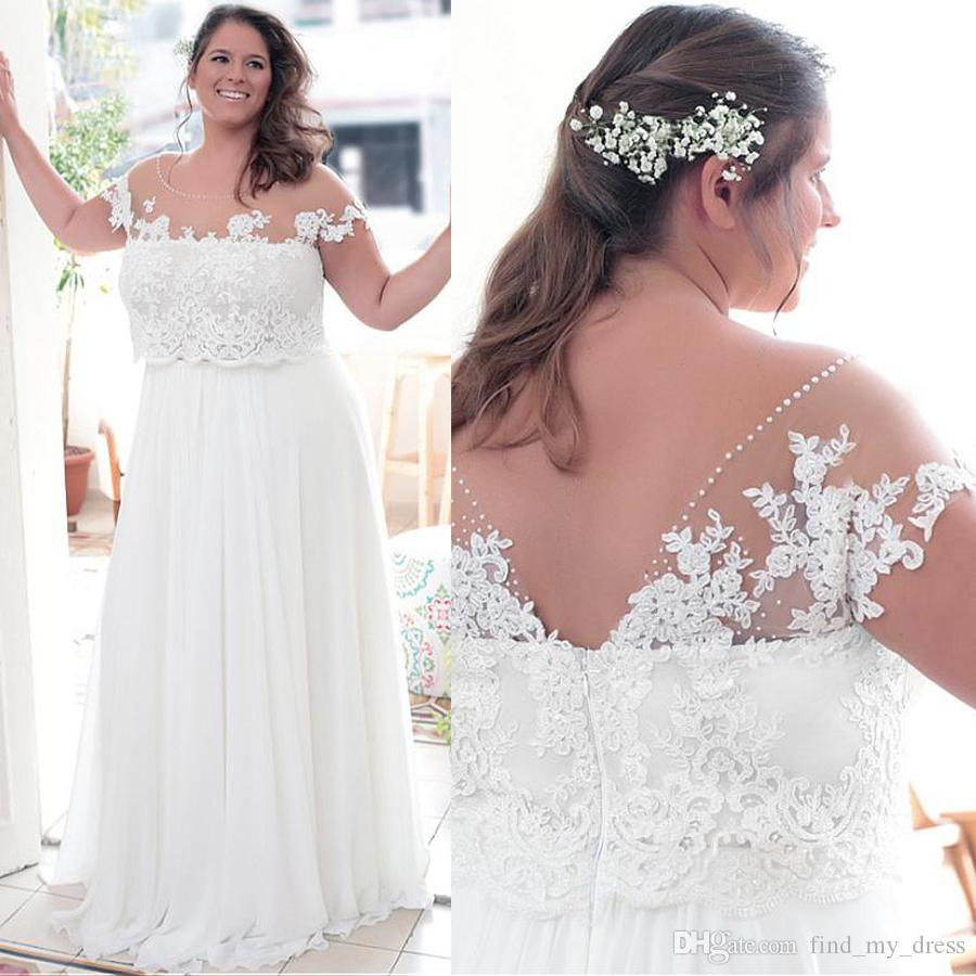 2020 Taille Elegant Plus Robes de mariée avec appliques de dentelle Une ligne de robe de mariée Jewel Décolleté Custom Made Backless Robes de mariée