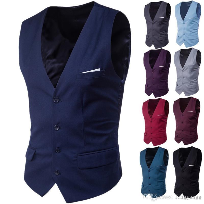 الرجال الأعمال عارضة سترات ضئيلة أزياء الرجال الصلبة لون واحد أزرار سترات صالح الذكور دعوى ل ربيع الخريف العريس سترة صدرية