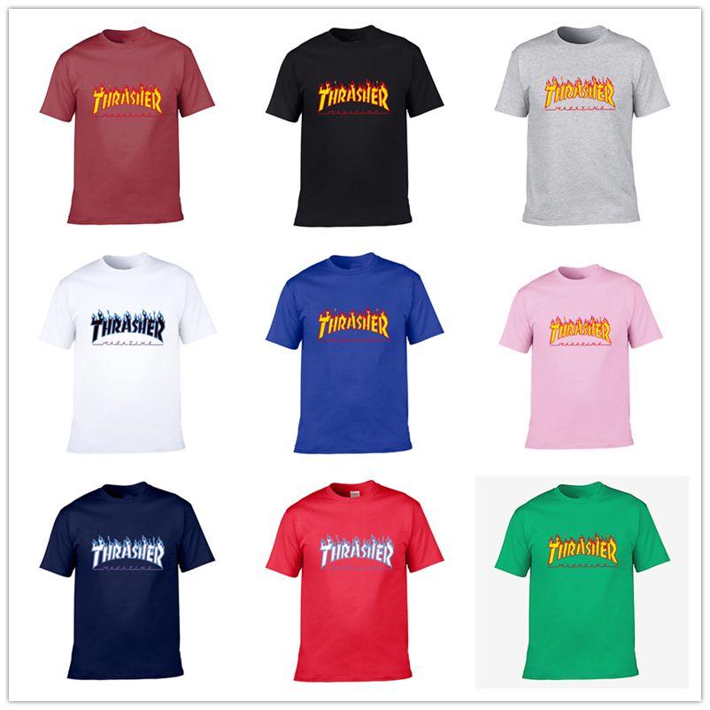 2020 nuevos hombres y mujeres camisetas de manga corta THRASHER estampación de camisetas hombre de hip hop Monopatín de hombres de la camiseta tamaño asiático S-3XL