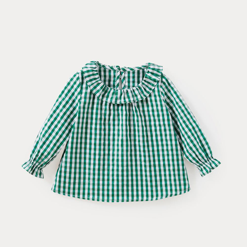 Spring Baby Girls Blouses Kids Peter Pan Collar Cotton Shirt Girls Long Sleeve Plaid shirt Clothes Girl Tops 3 Designs