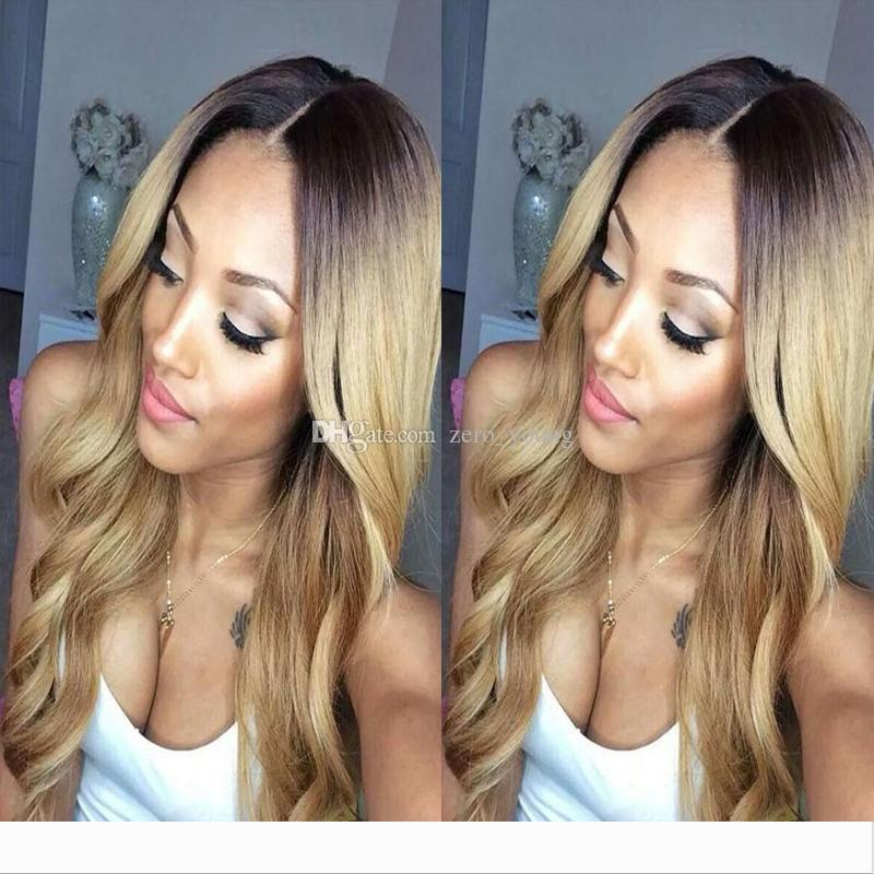 brazilian Ombre Full Lace 1B 27 Wigs 130-180 Density Body Wave Long hair lace front Wig With Bleached Knots