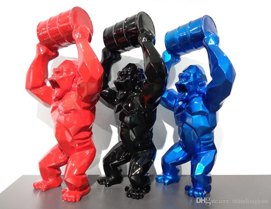 40CM الأمريكية الفن الإبداعي محاكاة الحيوان تمثال الغوريلا تمثال القرد الفن النحت الحرف الراتنج الديكور المنزلي