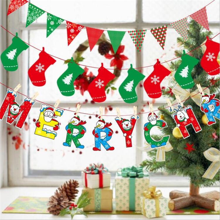 Nuevo llega Banderas navideñas Suministros para fiestas Bandera colorida Decoraciones navideñas Banderas para decoración del hogar Papá Noel Hombre de nieve Bandera de Navidad DHL EFJ400