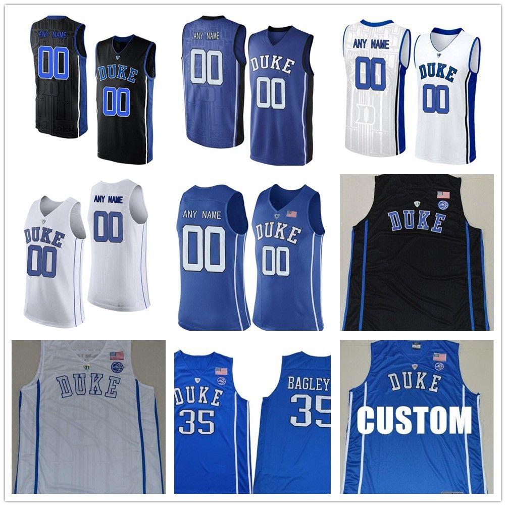 Homens Personalizado Duque Blue Devils College Jersey Feito Custom Qualquer Nome Número Costurado Azul Branco Branco Basquete Blackball Jerseys Barato