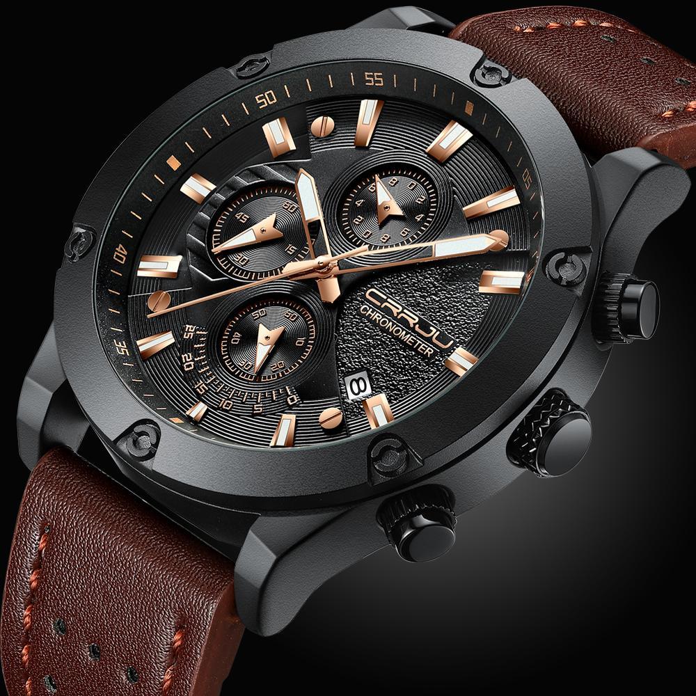 CRRJU Fashion Montre Homme Nouveau design Chronographe Big Face Quartz Montres-bracelets en cuir Sports de plein air Montres pour homme orologio uomo