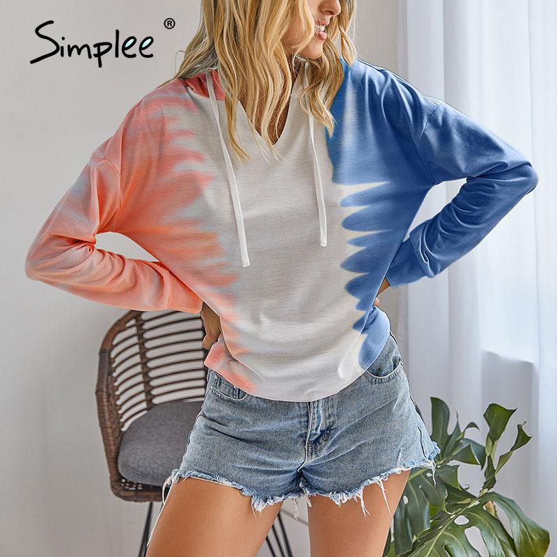 캐주얼 넥타이 염료 로우 플러스 사이즈 여성 후드 셔츠 높은 패션 하라주쿠 후드 스웨터 숙녀 가을 스웨터