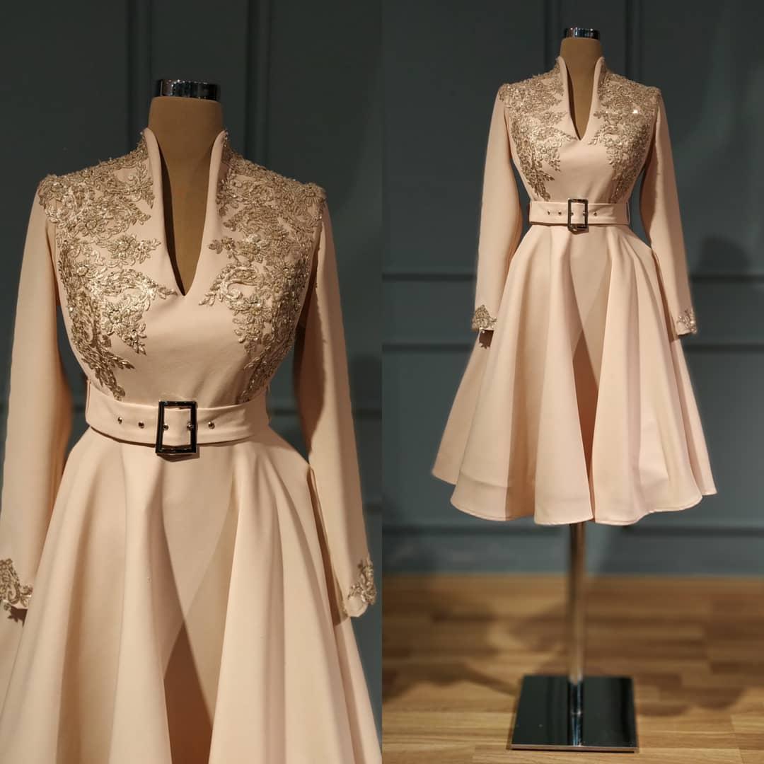 2020 Arabe Aso Ebi dentelle perlée sexy robes de soirée Décolleté en V Robes de bal à manches longues fête officielle Deuxième réception Robes ZJ355