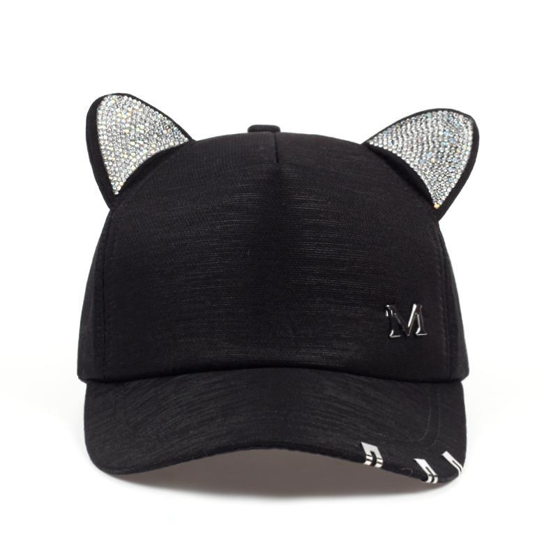 2018 nueva maullido verano de las mujeres negras blancas caen orejas de gato rosa del sombrero de la gorra de béisbol del gato con aros y encaje sombrero linda chica