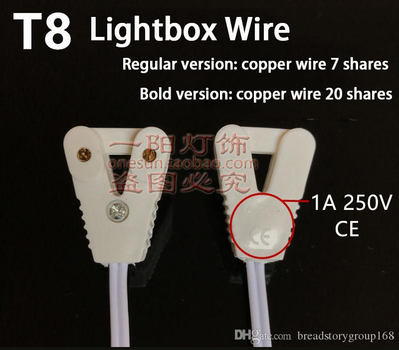 LED Fluorescent Tube Lamp Head Connector Cable T8 Big Head Lightbox Wire Copper Wire 7 Shares 20 Shares