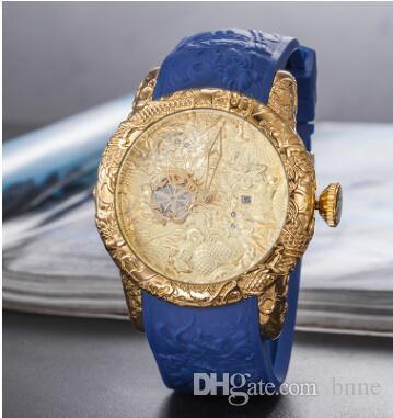 Ücretsiz kargo STOKTA Classil Saat Elmas Ejderha Stil Gül Altın Kuvars Saatler F1 Datejust Altın Kauçuk İzle
