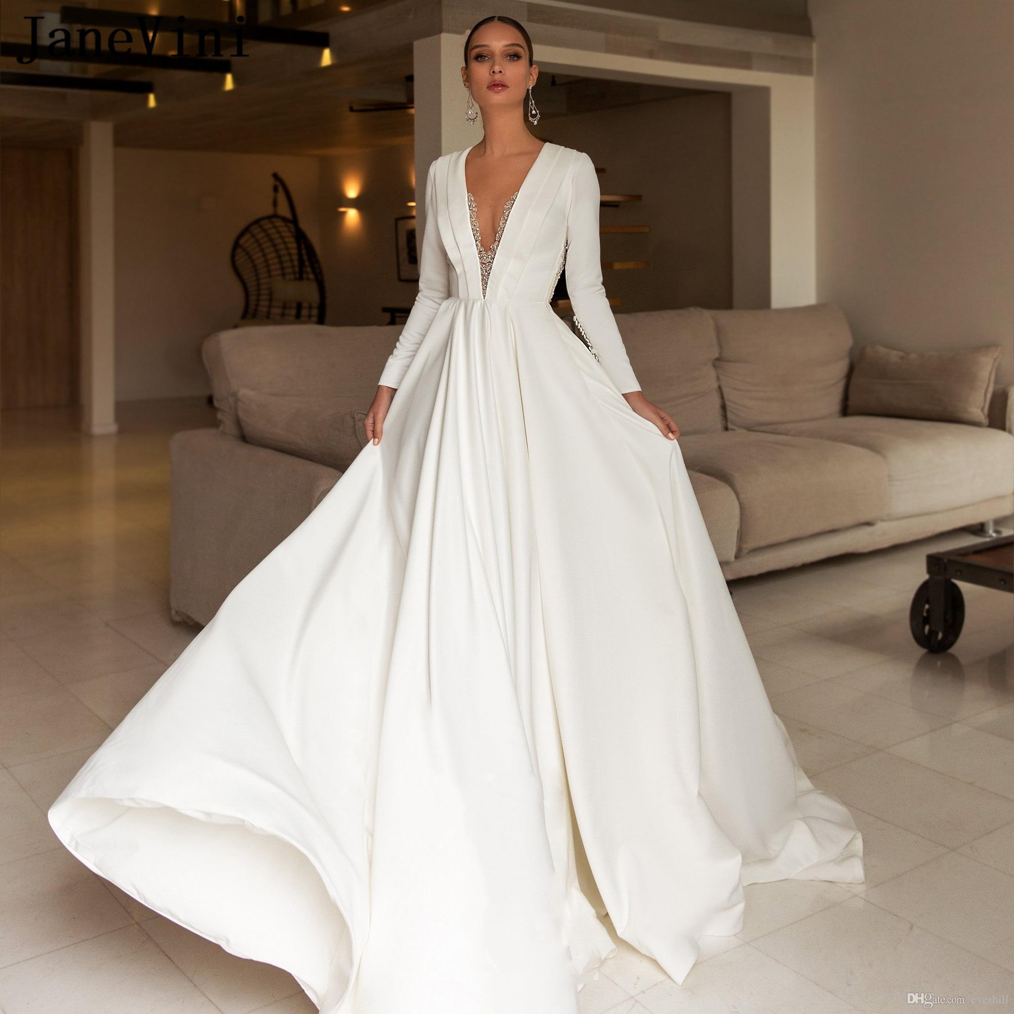 JaneVini Luxury Beading Satin Long Sleeves Wedding Dresses A Line 2019 Sexy Deep V Neck Illusion Back Vintage White Plus Size Bridal Gowns