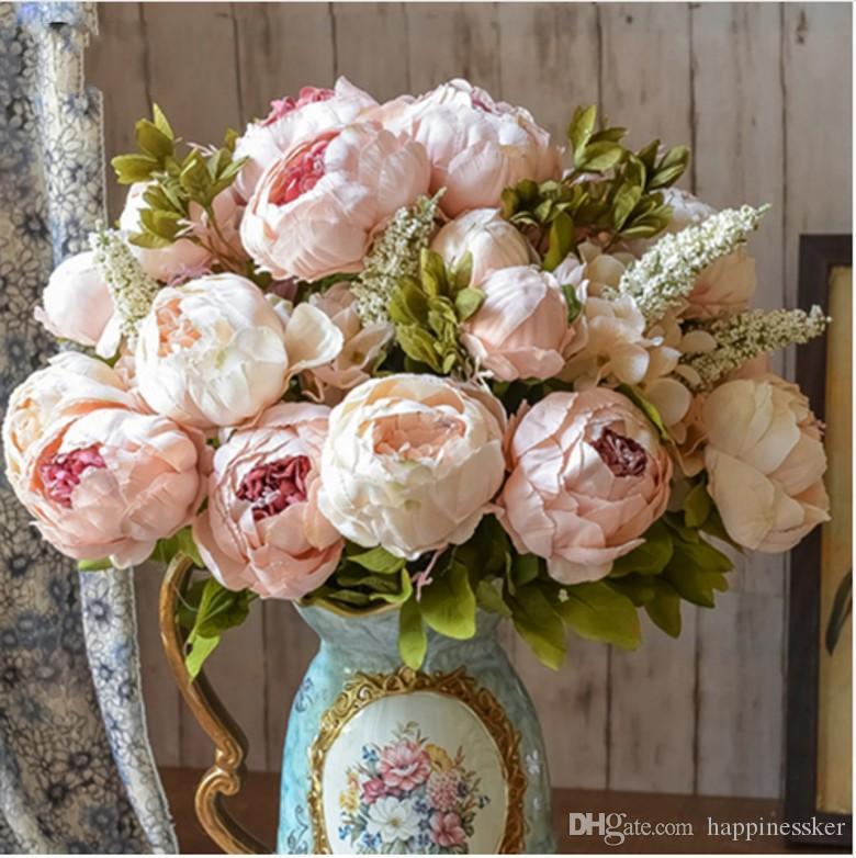 홈 유럽 스타일의 가짜 인공 모란 실크 장식 파티 꽃 호텔 웨딩 사무실 정원 장식 장미 꽃
