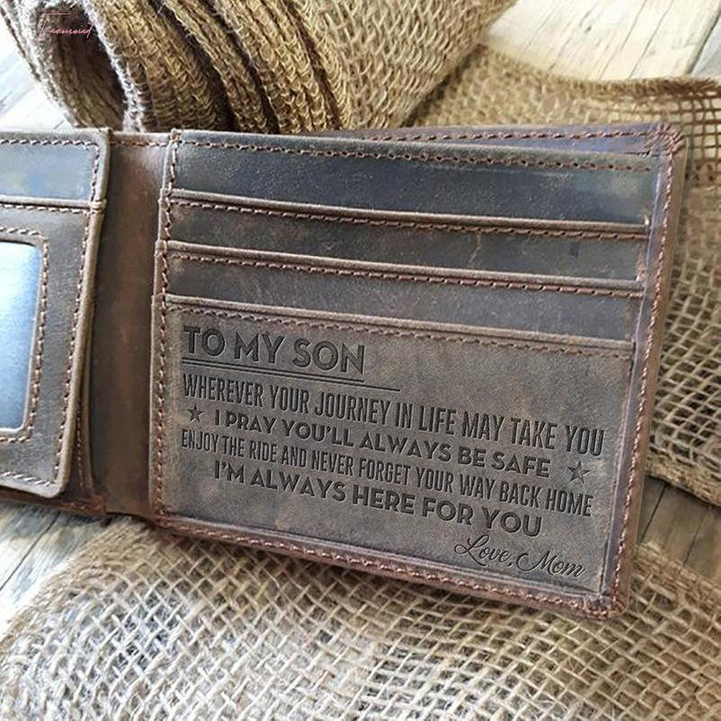 Mens Wallet Grey Cow Leather Wallet, Perfect Mens Gift, To My Mens Gift, Gifts For Husband, Son Gifts Personal Engraved