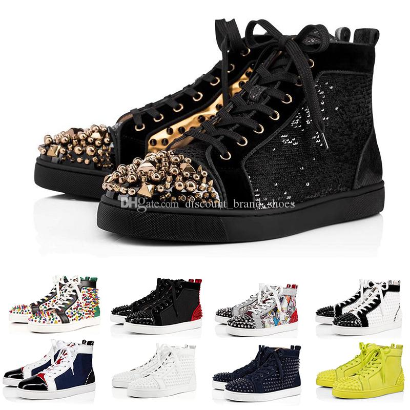 CL Christian Louboutin  ACE Designer Brand Red Bottom Studded Spikes Flats Shoes Men Women Fashion High Cut Multicolor Party Lovers Casual Shoes