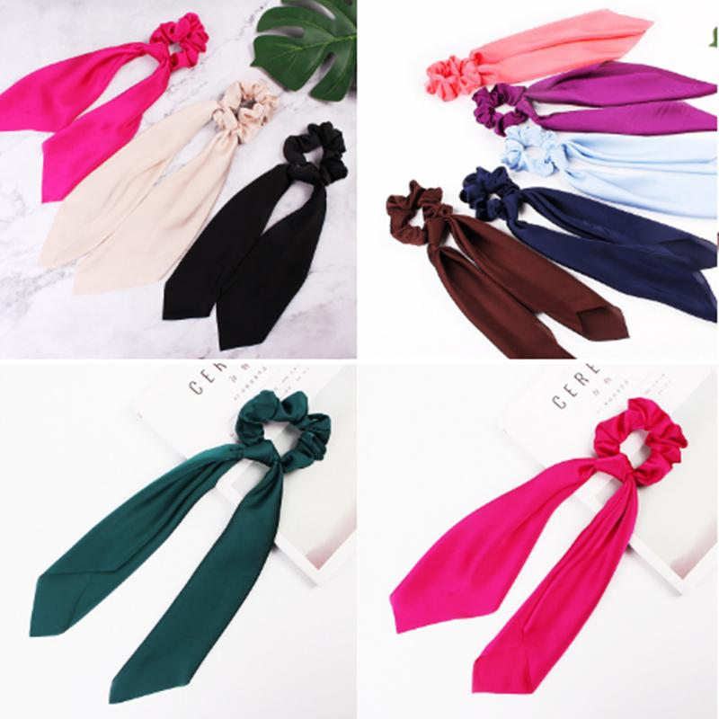 12 color Pure color hair ties Hair Scarf Bow large intestine loop satin long ribbon ponytail loop hair accessories hairband KJJ120