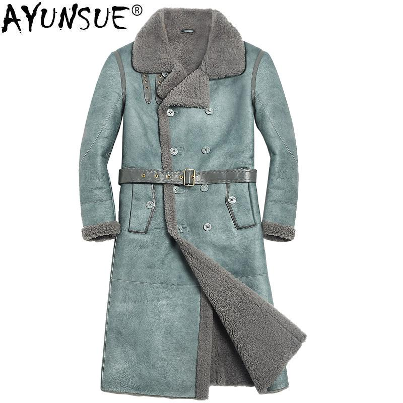 AYUNSUE Winter Sheep Shearling Jacket Men's Genuine Leather Jacket Long Sheepskin Coat for Men Natural Wool Fur Coat 816 KJ1134