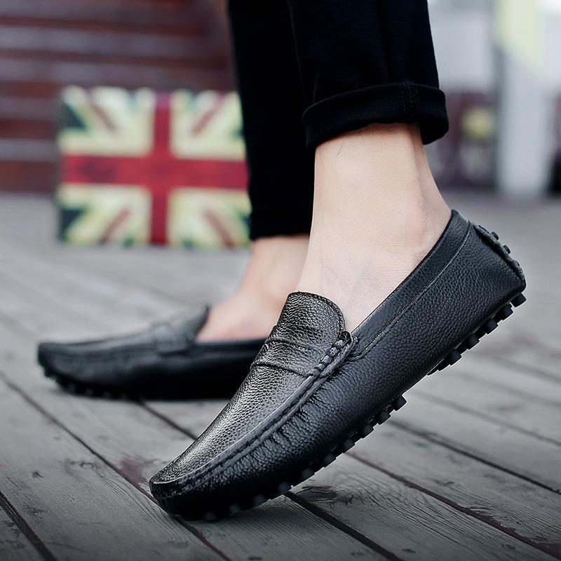 Zapatos de cuero genuinos de los hombres casual deslizamiento italiana para hombre de los holgazanes de los mocasines respirable en los zapatos tamaño de embarcación Negro Plus 39-50