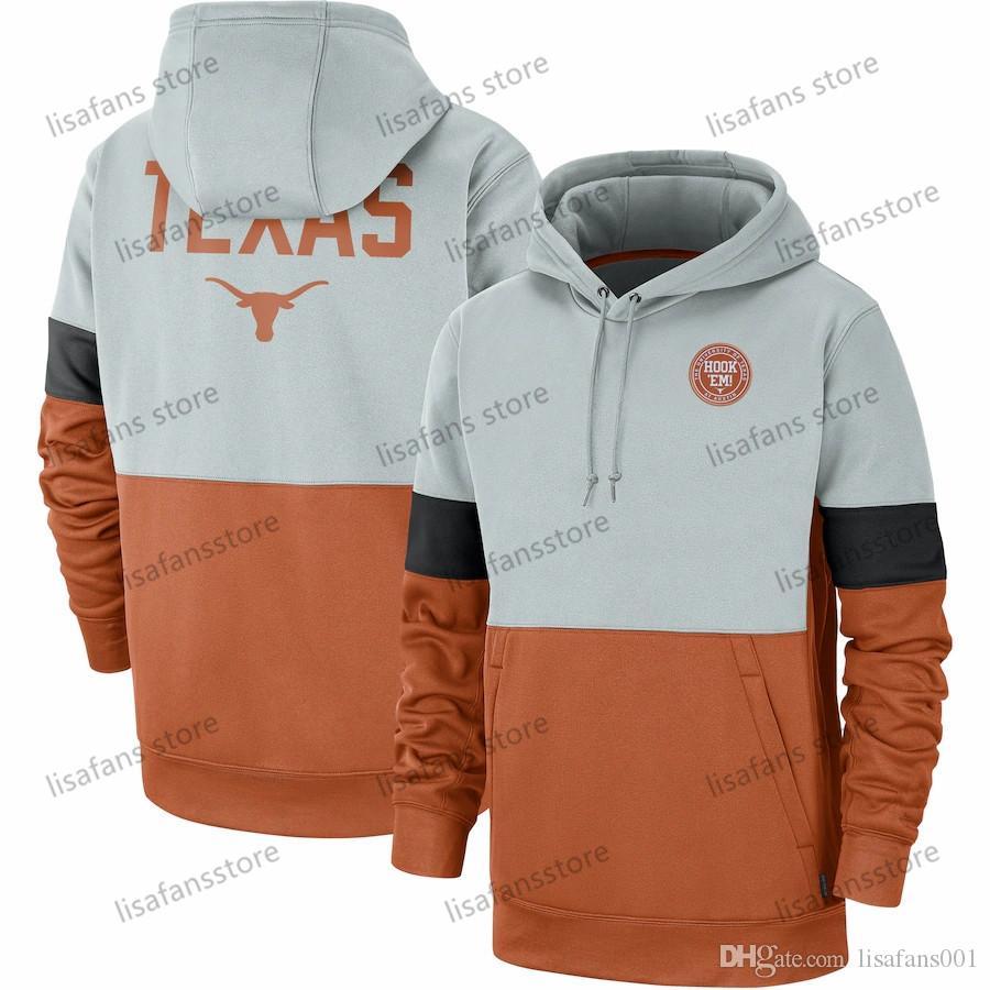 Erkek Turuncu Texas Uzunboynuzlar Rekabet Therma Performans Kazak Kapüşonlular 2020 Futbol University College Spor Sweatshirt Boyut S-4XL