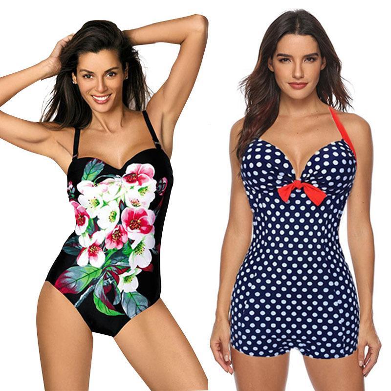 One Bikini plus Bathing Monokini Vintage Women Retro Piece Push-up Swimsuit size