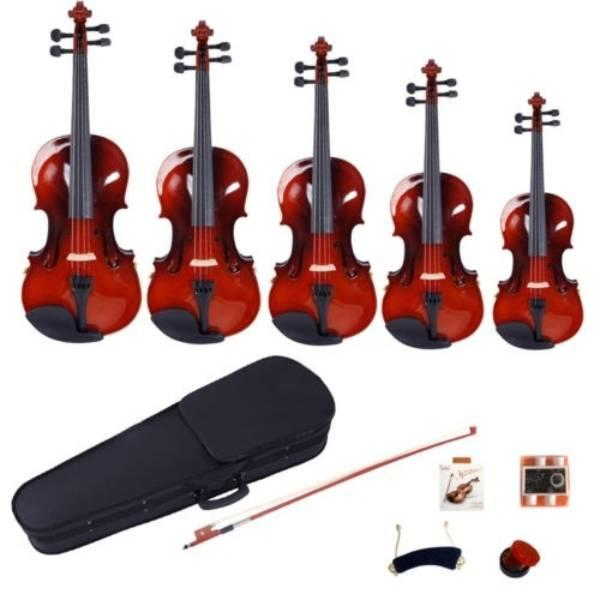 GV100 4/4 Акустический Корпус скрипки Bow канифоль Струны Тюнеры Плечи Set Natural Color для взрослых