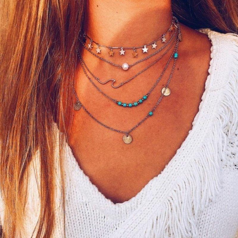 Ожерелье Boho бусинки Star Pearl Блестки Подвеска для женщин многослойное ожерелье ювелирных изделий Аксессуары
