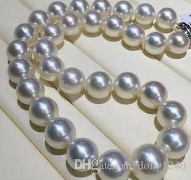 """Bien JOYERIA 18 """"de 12-13 MM Mar del Sur colar de perlas blancas Frete Grátis"""