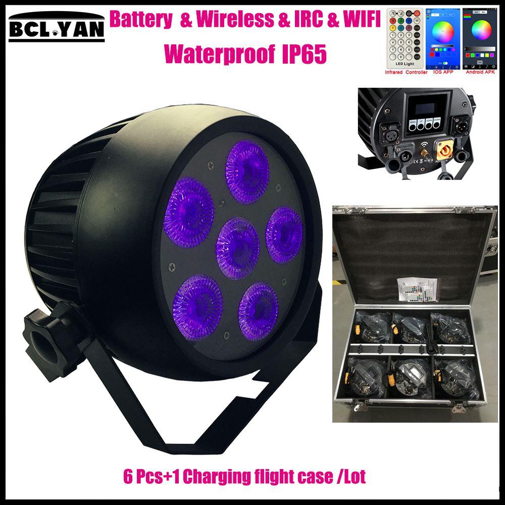 Hot sale outdoor waterproof led battery wireless dmx par uplighting with IR remote & wifi control 6*18w RGBWAP 6 IN 1 6XLot