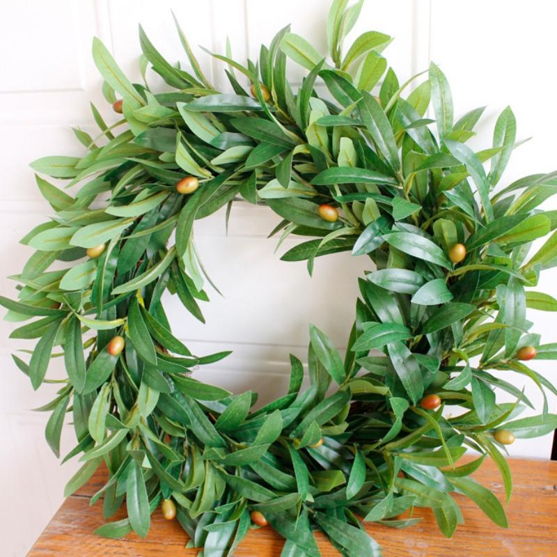 Artificial Peace Olive Leaf Wreath Handcrafted Garland Ornaments Branches Door Hanging Decorati For Wedding Decor Kerstkrans
