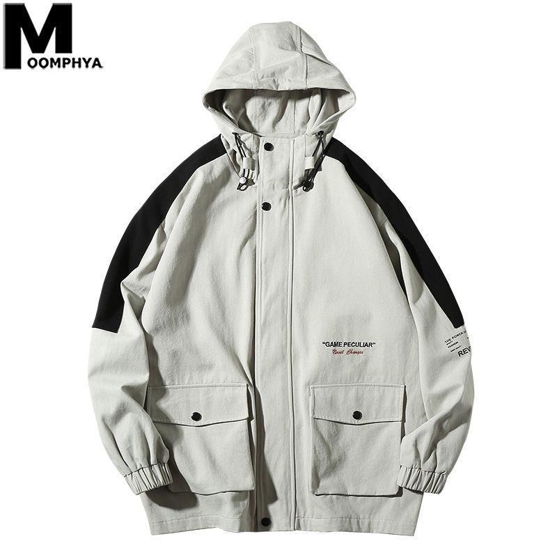 Moomphya Side Stripes Jacke Männer Streetwear Hooded Windbreaker Coat Männer 2019 Herbst Herrenjacke Casual Male Fashion Tops