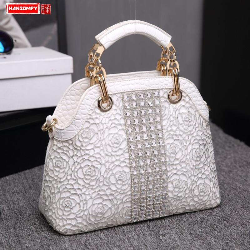 Diamantes Moda Luxo Mulheres Bolsas Crossbody Feminino Shoulder Shell Bag Rhinestone Messenger Bags Crocodile Pattern Couro Y200623