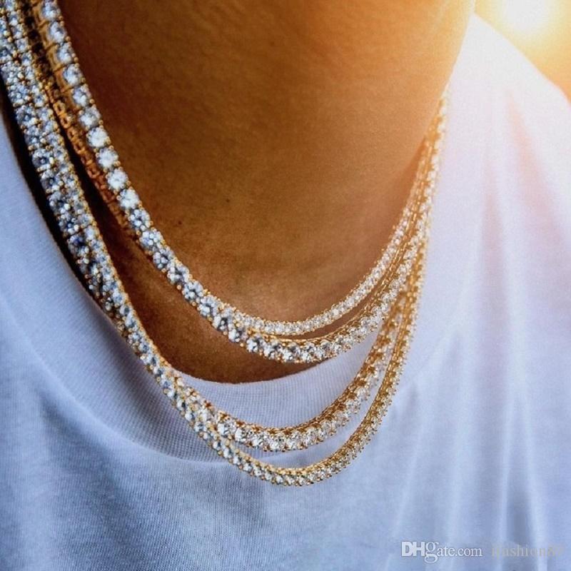 Hip Hop Bling Chains Jóias Mens Diamante Iced Out Tennis Cadeia Colar Moda 3mm 4mm colares corrente de ouro de prata