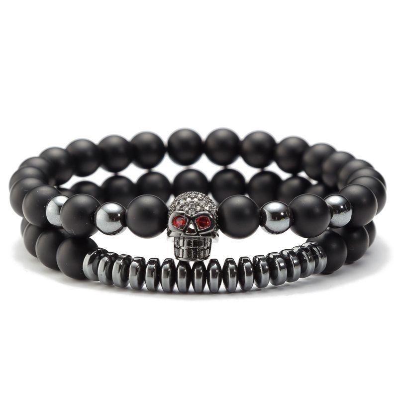 2 Teile / satz 2019 perle Charme armband CZ Skeleton Schädel Stein Energie Europäischen Buddha Naturstrang Herren Charms Perlen Schwarz Lava Rock Armband