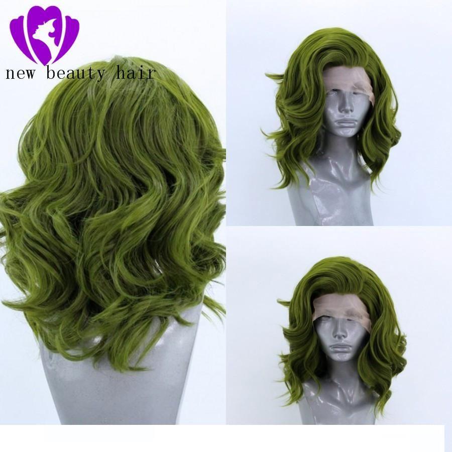 2020 nuevo estilo de moda Stock sin pegamento pelucas delanteras de encaje sintético pelucas verdes corto cuerpo onda parte libre pelucas delanteras de encaje resistente al calor
