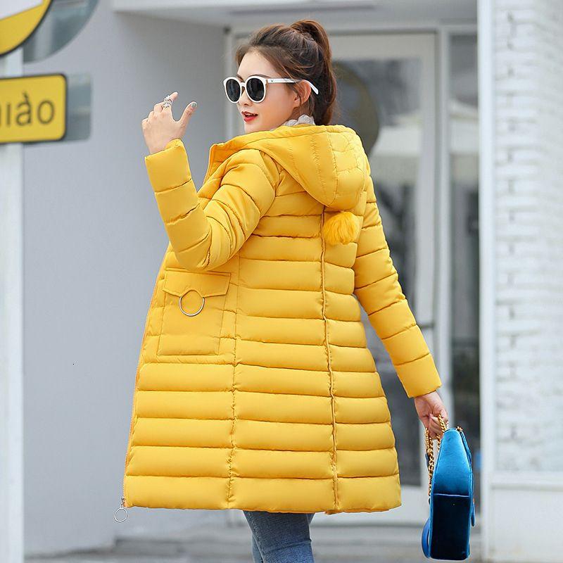 Kadınlar popüler parka 8805 V191209 aşağı yeni kadın uzun büyük yün yaka pamuk yastıklı ceket kış büyük beden pamuklu giysiler